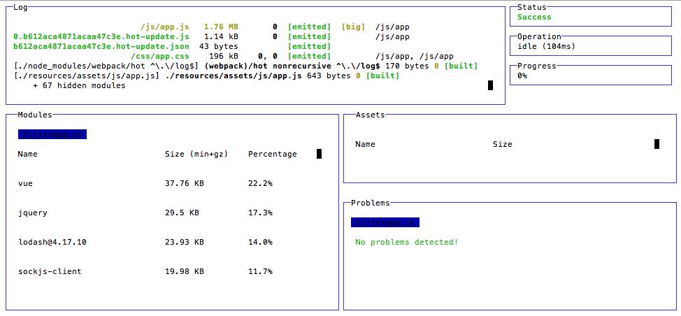 Webpack dashboard output for Laravel Mix